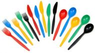 Plastic polycarbonate dessert spoon -packs of 10