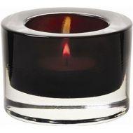 Heavy Base Tealight Holder Black Glass 8cm