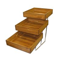 3 Tier Chrome Stand & Distressed Wood Trays
