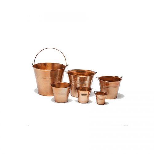 Copper Metal Bucket 10cm Dia x 8.5cm H