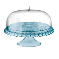 Tiffany Cake Stand With Dome 36 x 28cm Sea Blue