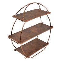 Rustic Wood & Copper Tea Stand 362 x 132 x 385mm