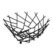 Basket Thatch Round Black 8x3-5/8 Inch